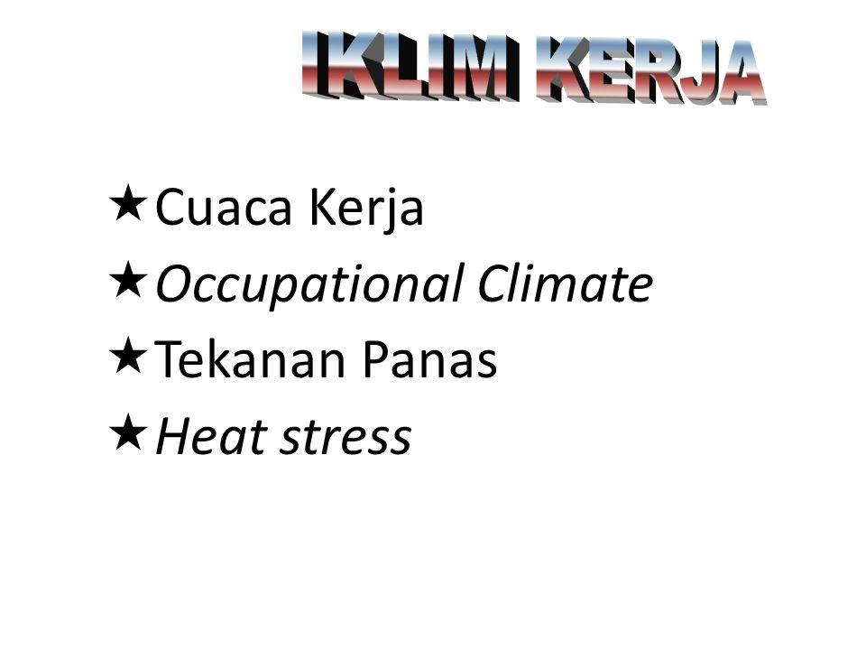 IKLIM KERJA Cuaca Kerja Occupational Climate Tekanan Panas Heat stress