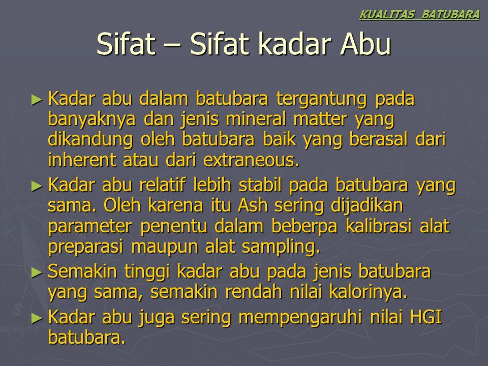 KUALITAS BATUBARA Sifat – Sifat kadar Abu.