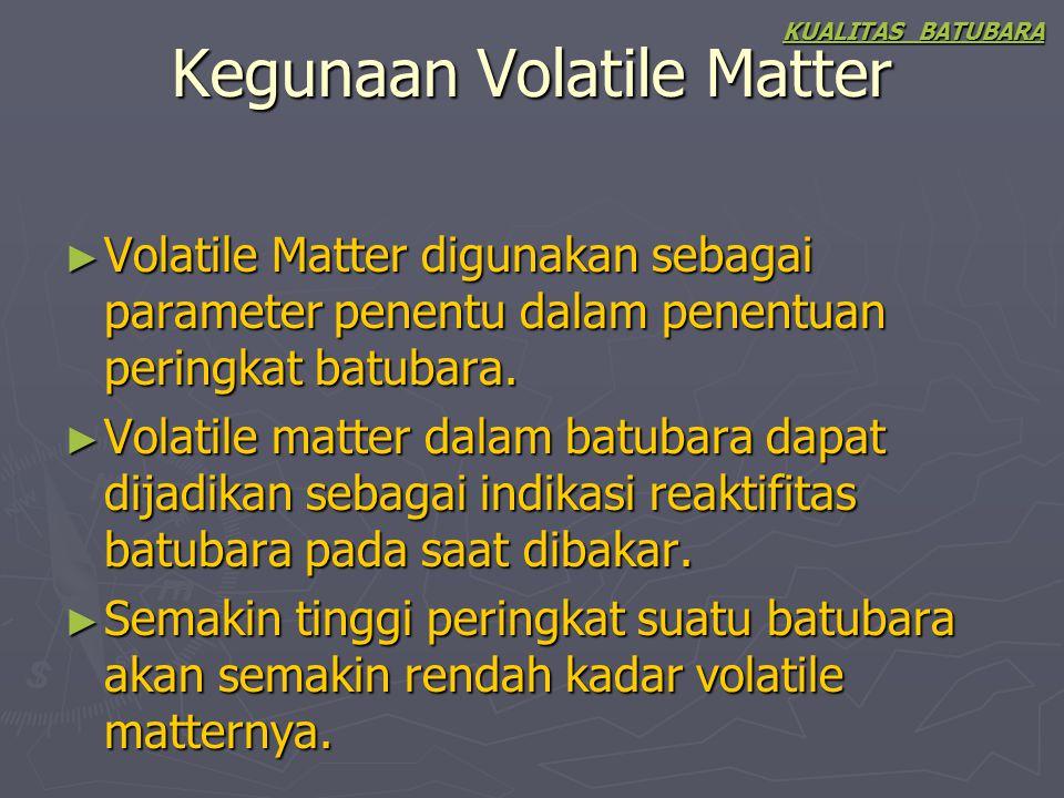 Kegunaan Volatile Matter
