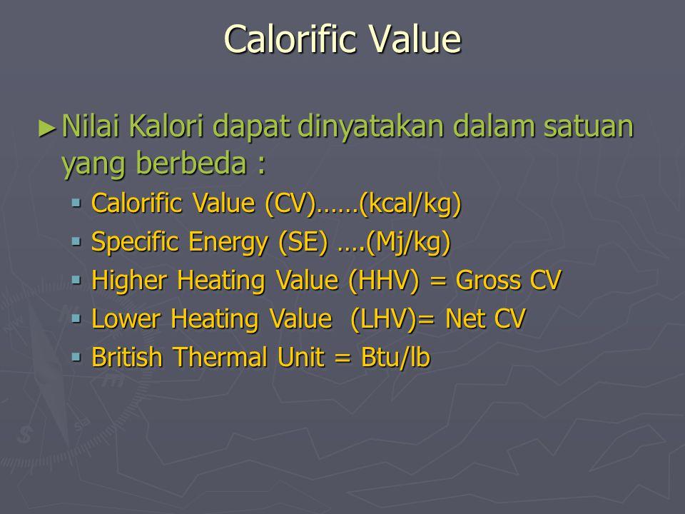 Calorific Value Nilai Kalori dapat dinyatakan dalam satuan yang berbeda : Calorific Value (CV)……(kcal/kg)