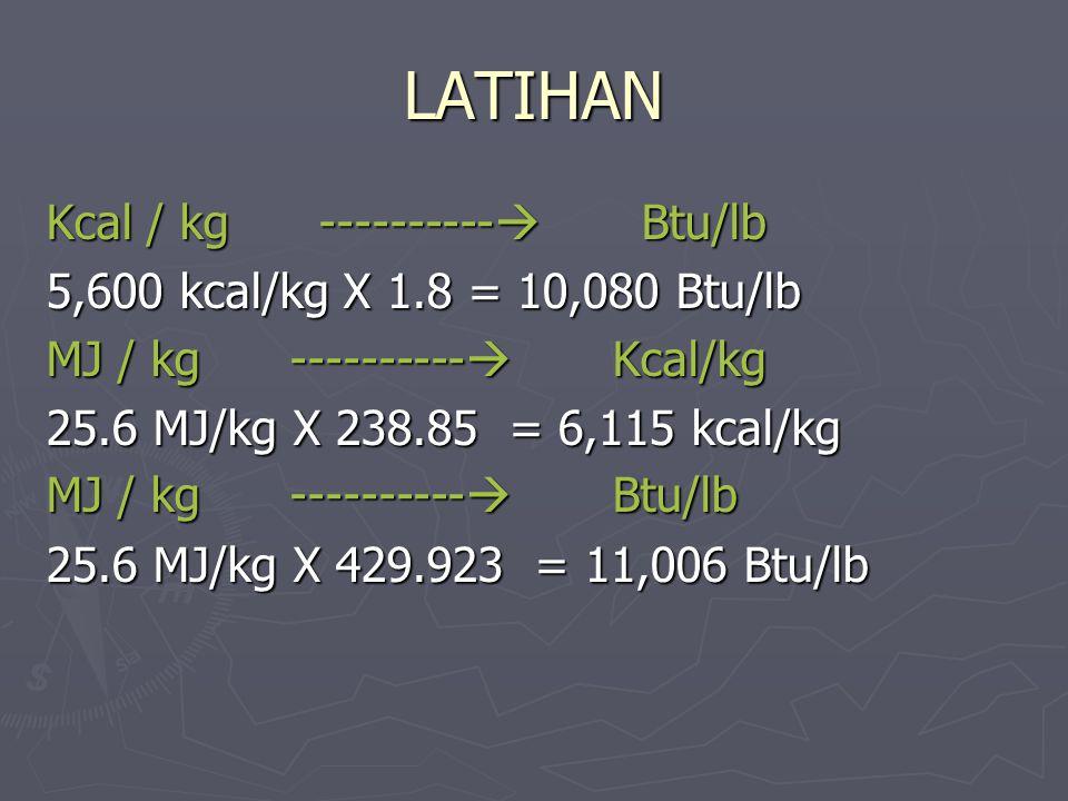 LATIHAN Kcal / kg ---------- Btu/lb