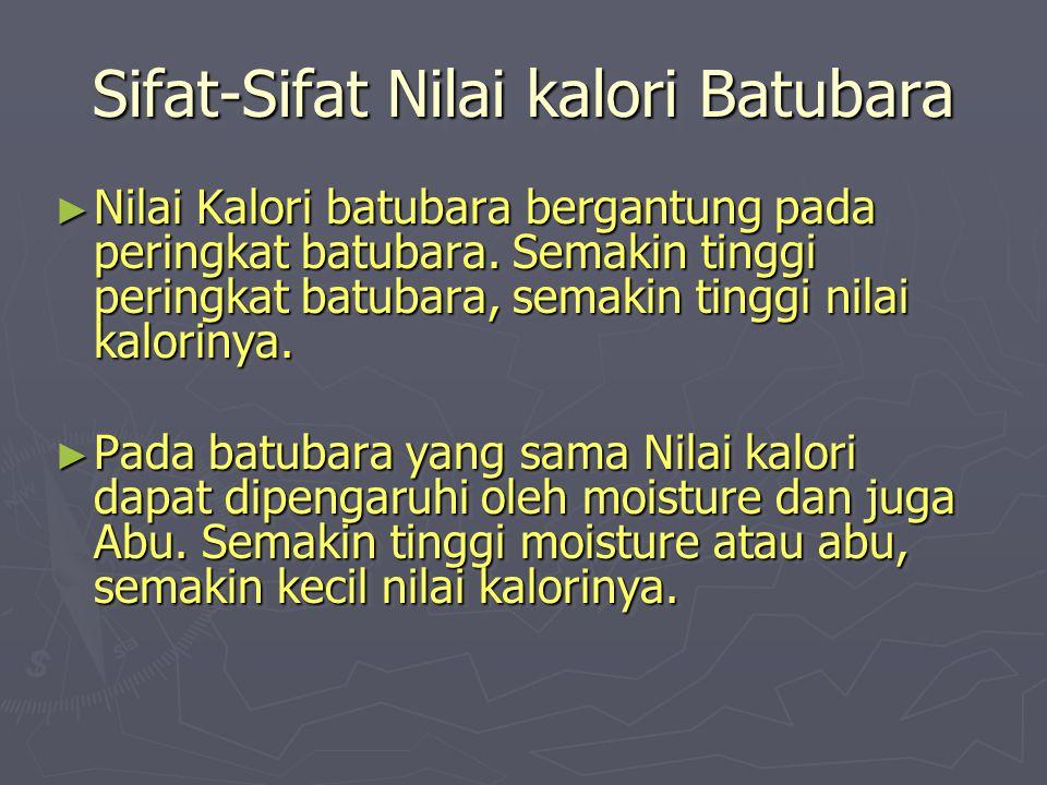 Sifat-Sifat Nilai kalori Batubara