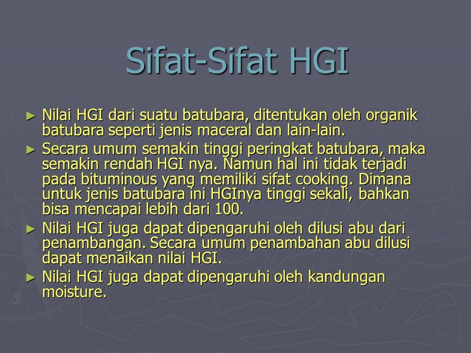 Sifat-Sifat HGI Nilai HGI dari suatu batubara, ditentukan oleh organik batubara seperti jenis maceral dan lain-lain.