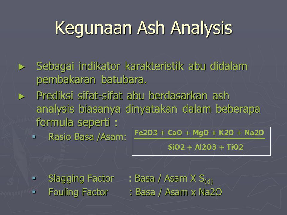 Kegunaan Ash Analysis Sebagai indikator karakteristik abu didalam pembakaran batubara.