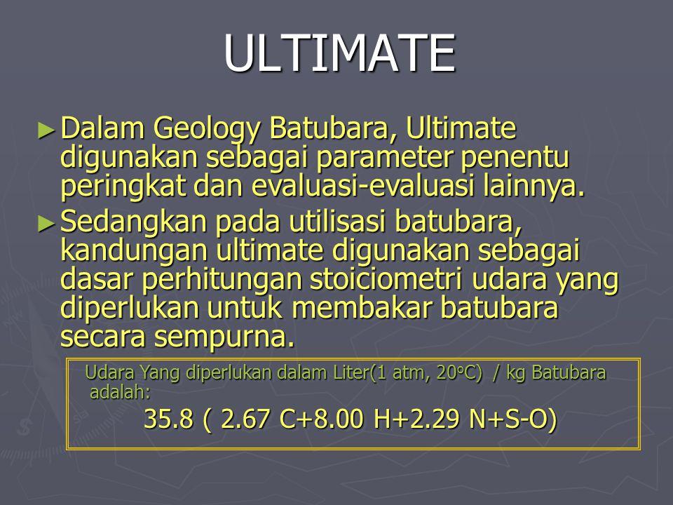 ULTIMATE Dalam Geology Batubara, Ultimate digunakan sebagai parameter penentu peringkat dan evaluasi-evaluasi lainnya.