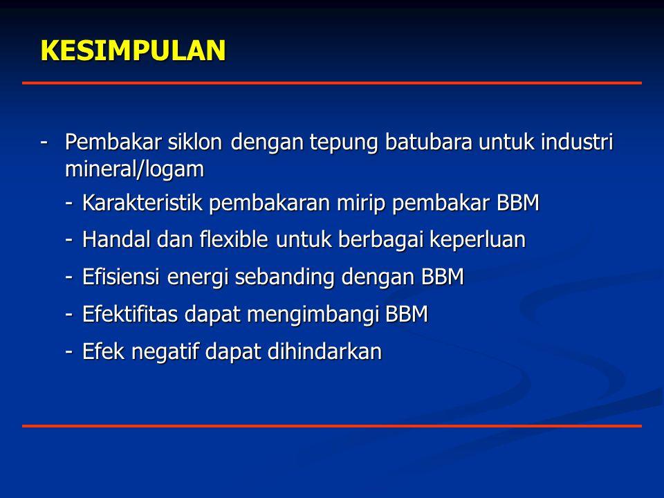 KESIMPULAN - Pembakar siklon dengan tepung batubara untuk industri mineral/logam. - Karakteristik pembakaran mirip pembakar BBM.