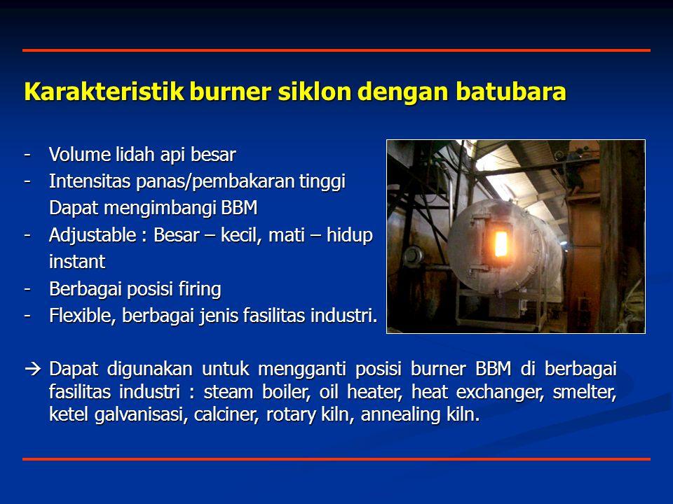 Karakteristik burner siklon dengan batubara