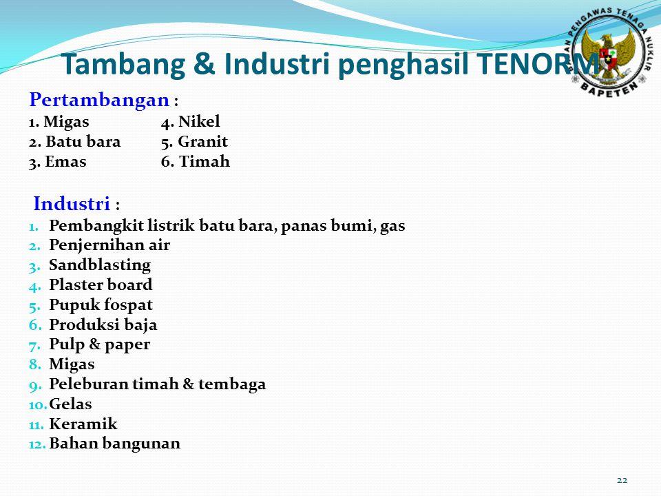 Tambang & Industri penghasil TENORM