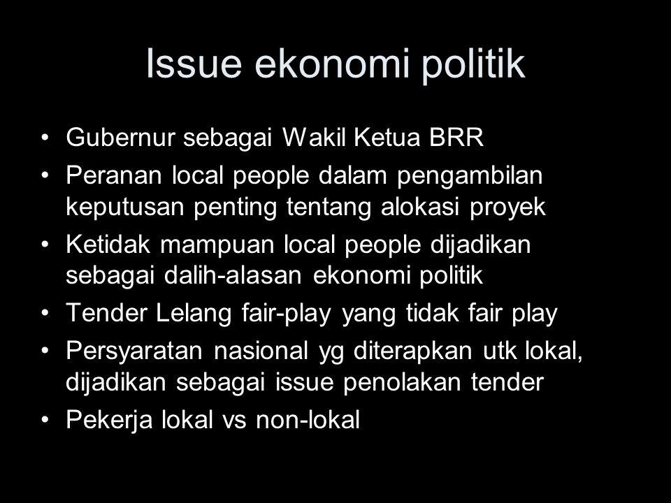 Issue ekonomi politik Gubernur sebagai Wakil Ketua BRR