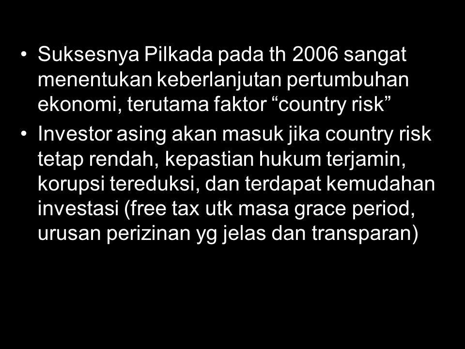 Suksesnya Pilkada pada th 2006 sangat menentukan keberlanjutan pertumbuhan ekonomi, terutama faktor country risk