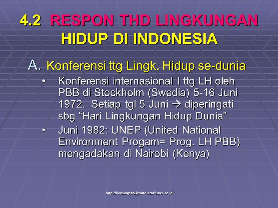 4.2 RESPON THD LINGKUNGAN HIDUP DI INDONESIA