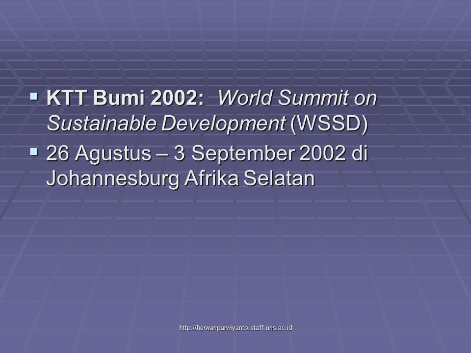 KTT Bumi 2002: World Summit on Sustainable Development (WSSD)