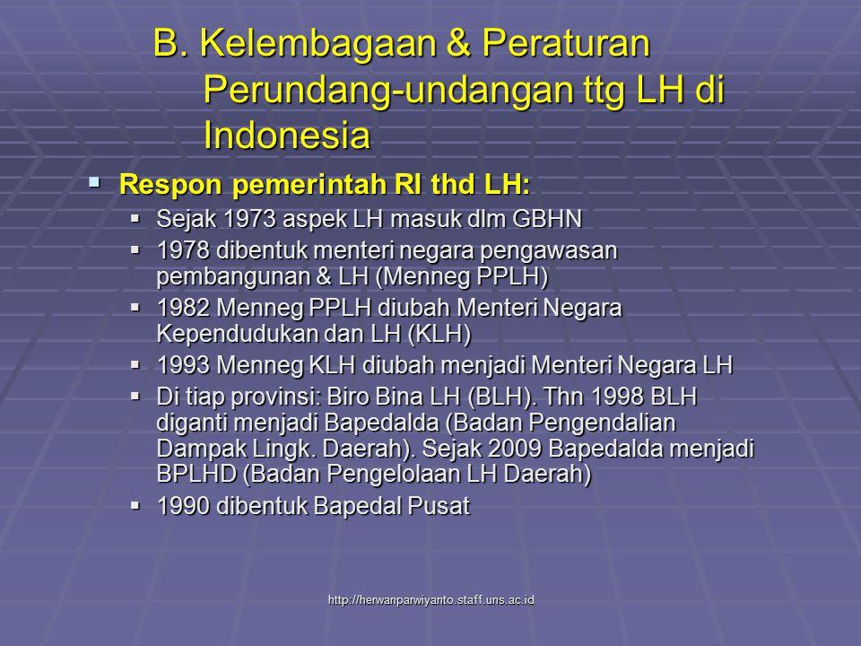 B. Kelembagaan & Peraturan Perundang-undangan ttg LH di Indonesia