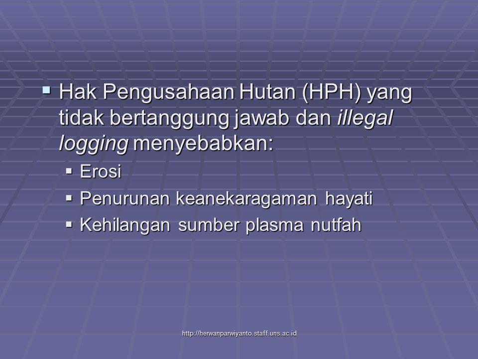 Hak Pengusahaan Hutan (HPH) yang tidak bertanggung jawab dan illegal logging menyebabkan: