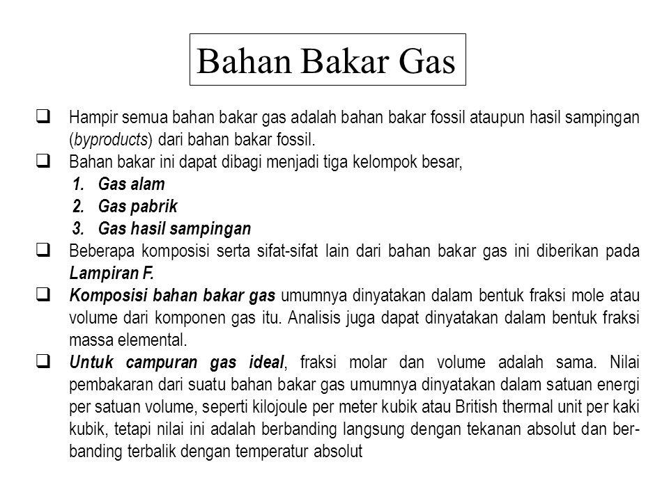 Bahan Bakar Gas Hampir semua bahan bakar gas adalah bahan bakar fossil ataupun hasil sampingan (byproducts) dari bahan bakar fossil.