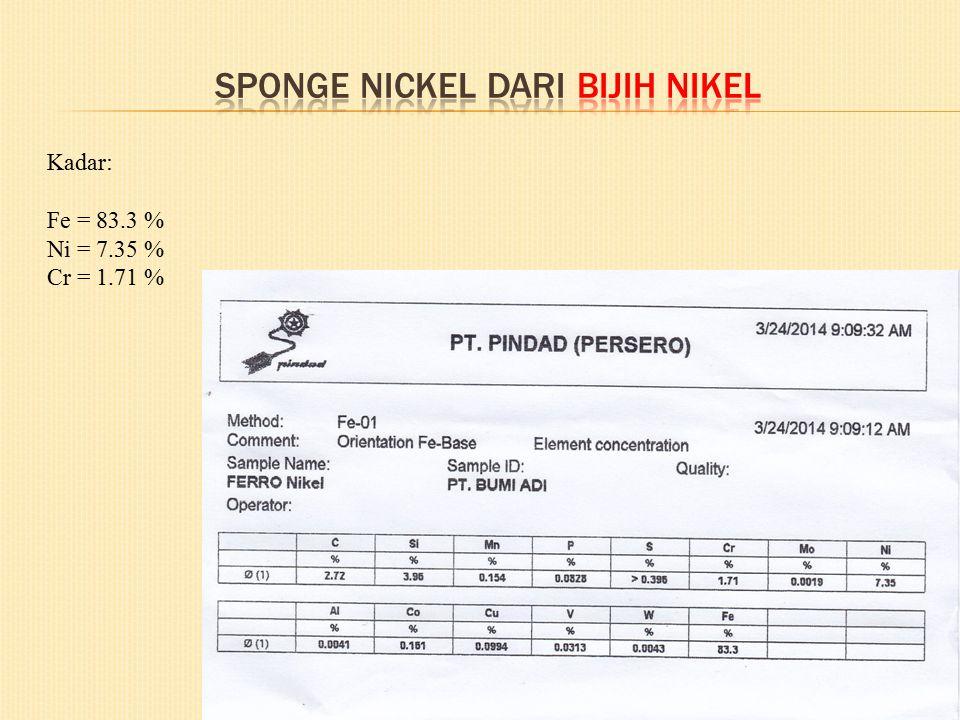 Sponge nickel dari bijih nikel