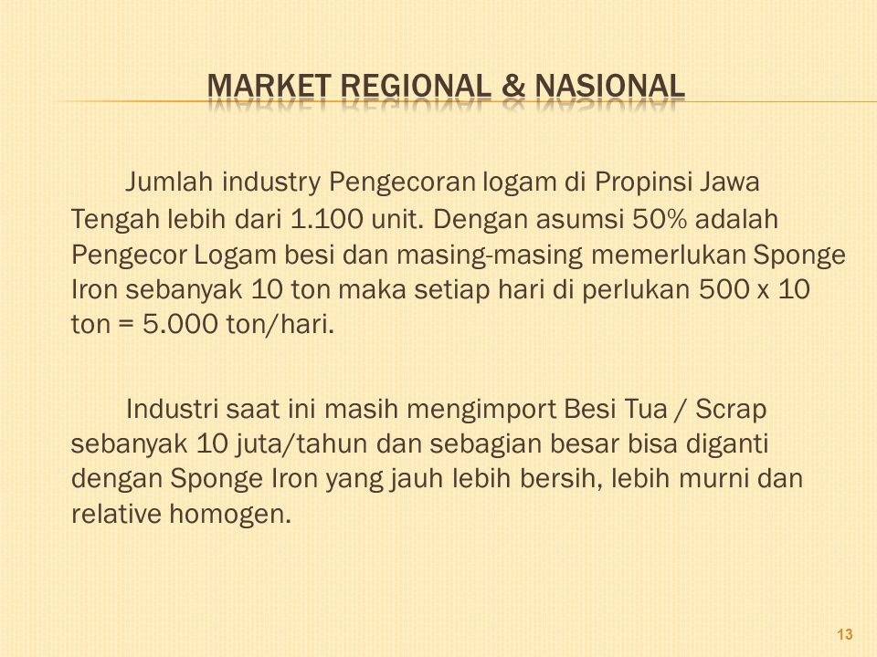 MARKET Regional & nasional