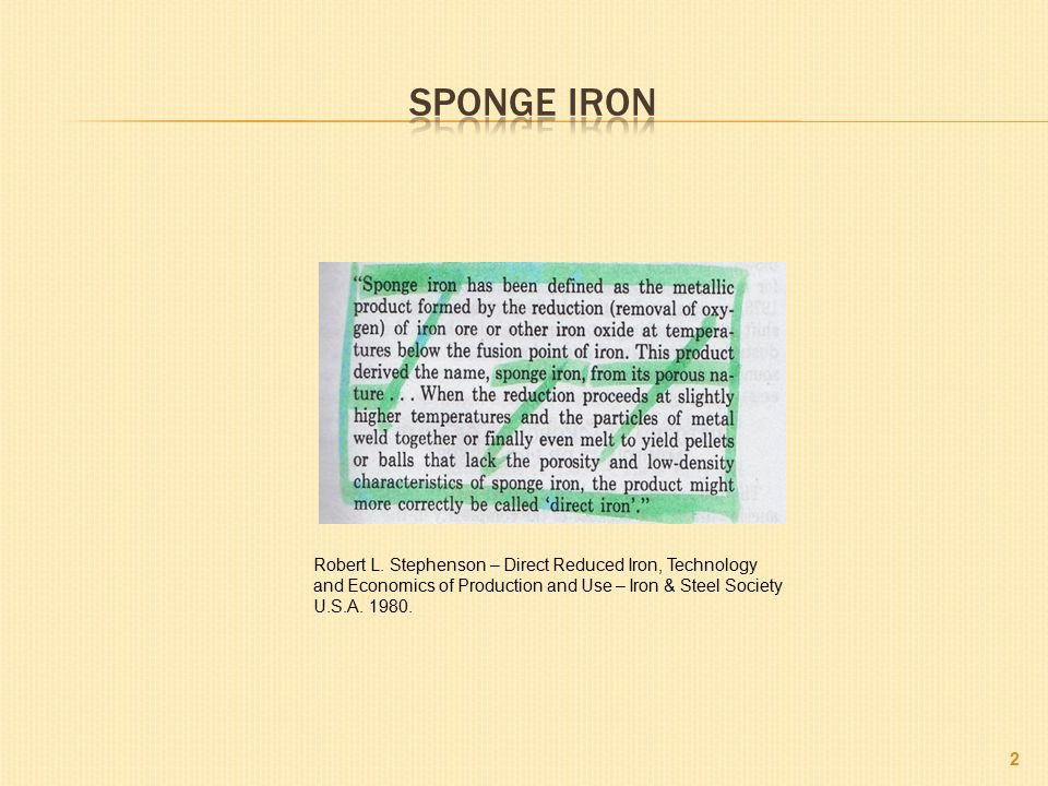 Sponge iron Robert L.