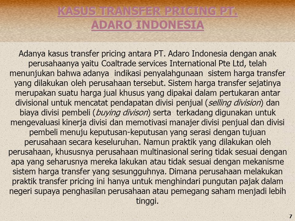 KASUS TRANSFER PRICING PT. ADARO INDONESIA