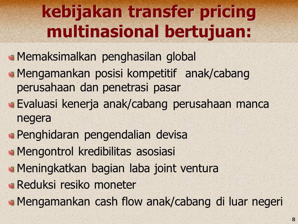 kebijakan transfer pricing multinasional bertujuan: