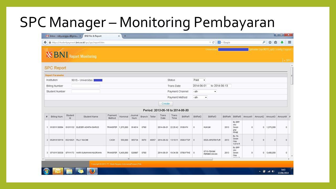 SPC Manager – Monitoring Pembayaran