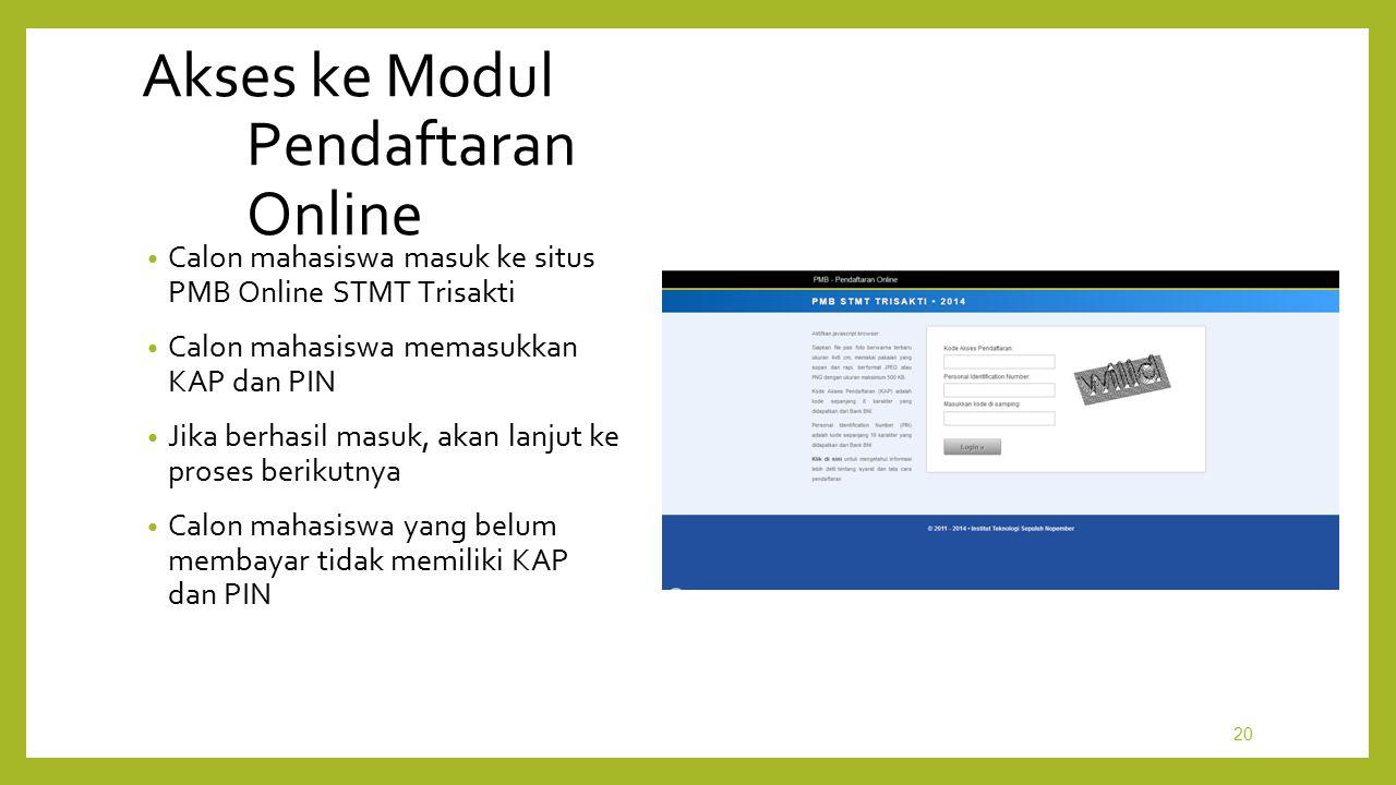 Akses ke Modul Pendaftaran Online