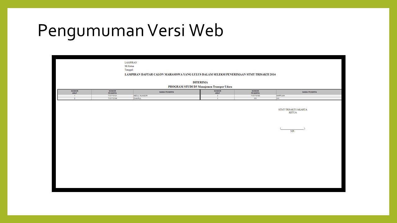 Pengumuman Versi Web