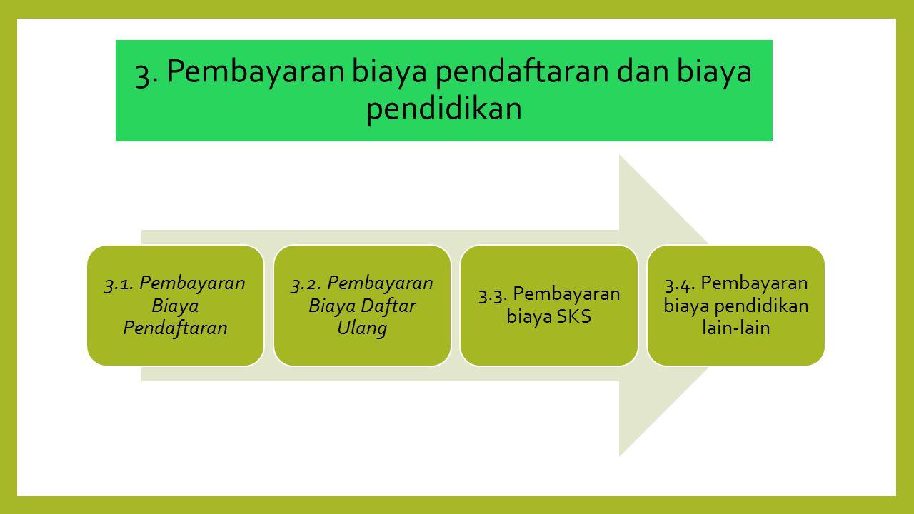 3. Pembayaran biaya pendaftaran dan biaya pendidikan