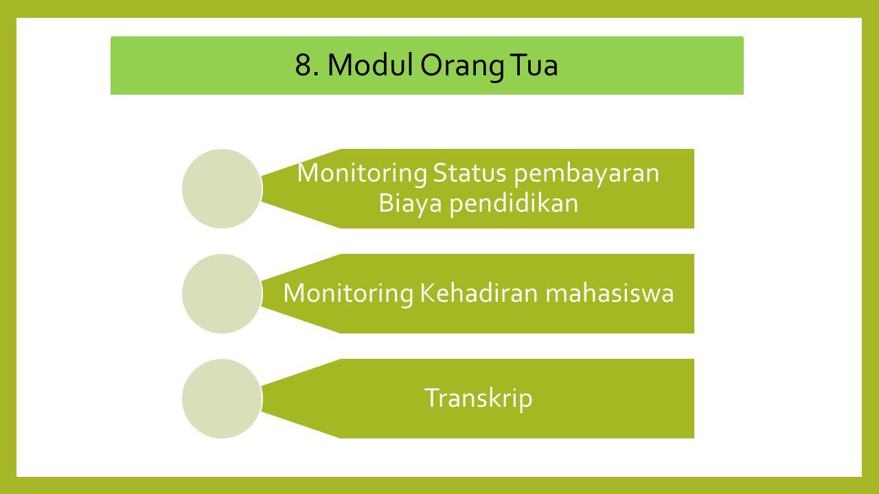 8. Modul Orang Tua Monitoring Status pembayaran Biaya pendidikan