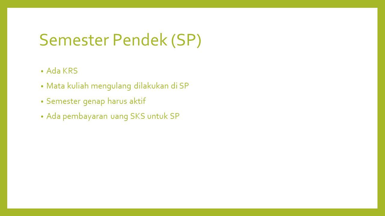 Semester Pendek (SP) Ada KRS Mata kuliah mengulang dilakukan di SP