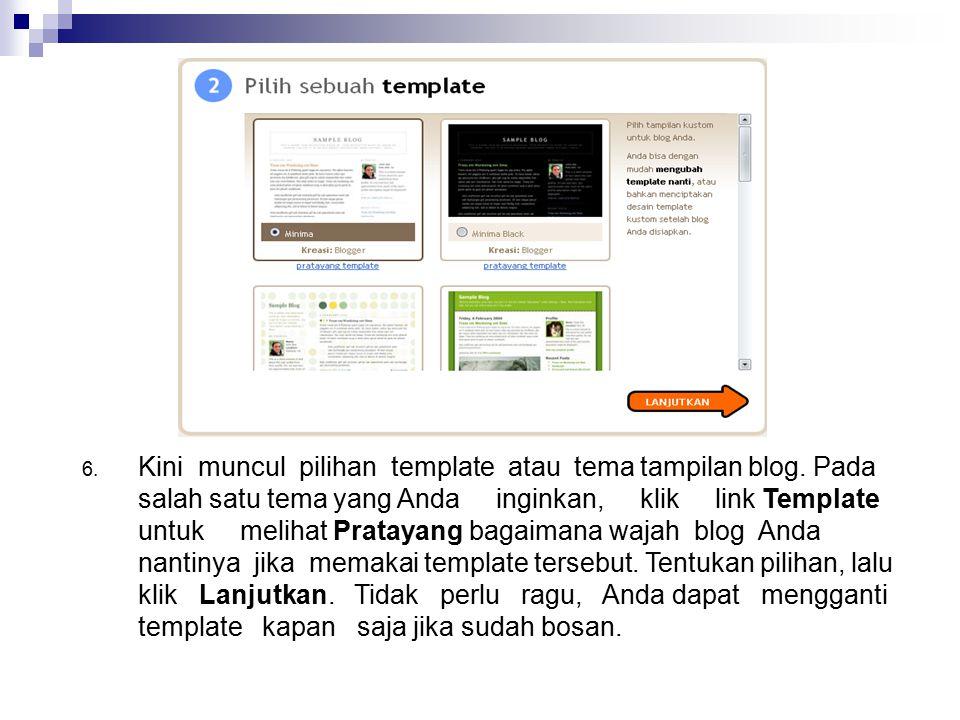 Kini muncul pilihan template atau tema tampilan blog