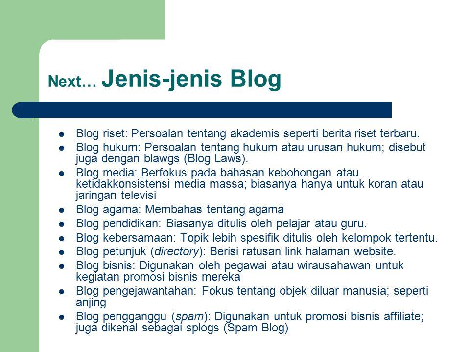 Next… Jenis-jenis Blog
