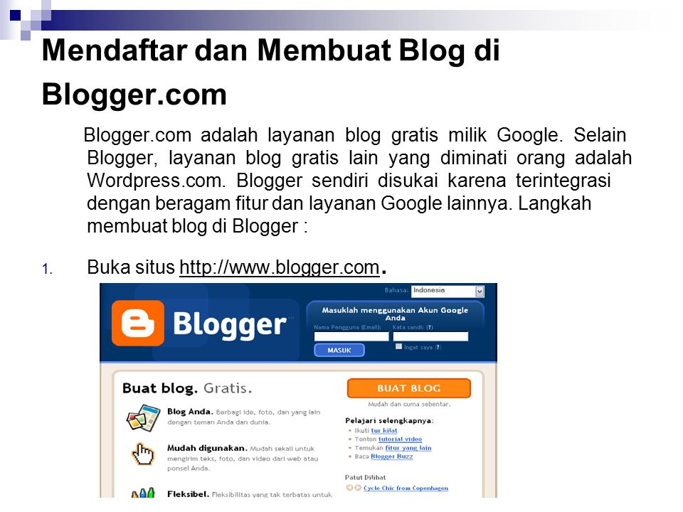 Mendaftar dan Membuat Blog di Blogger.com