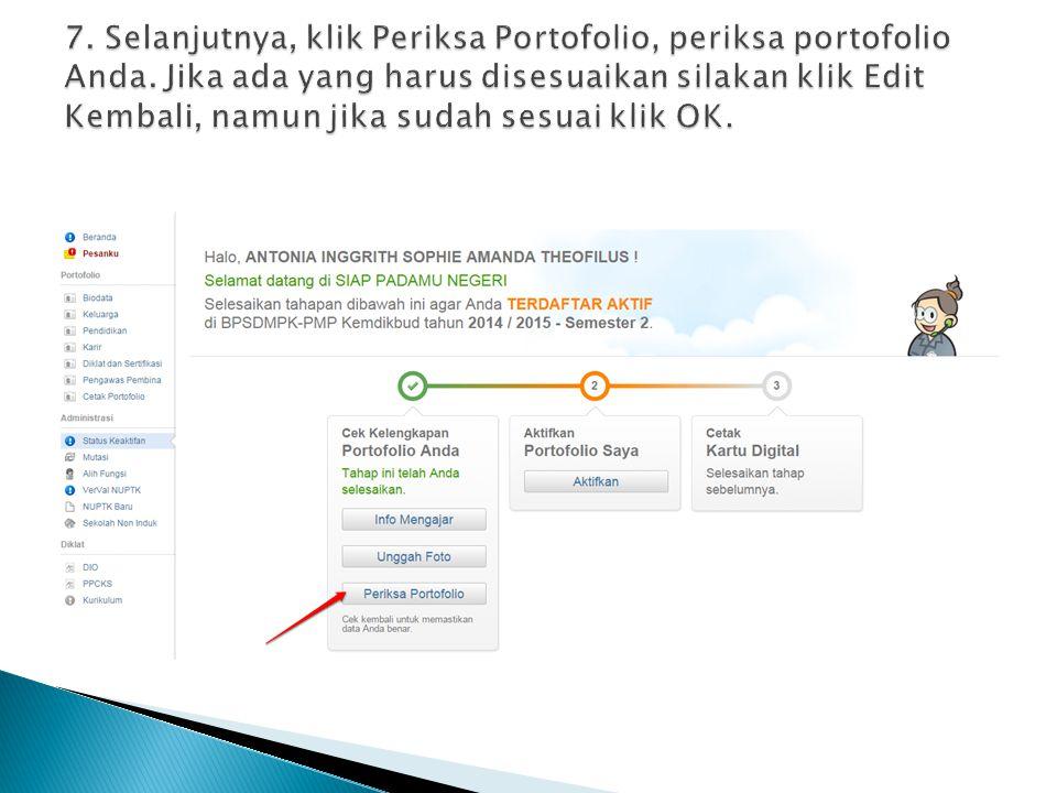 7. Selanjutnya, klik Periksa Portofolio, periksa portofolio Anda