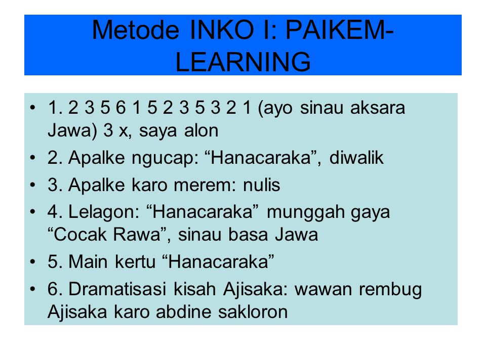 Metode INKO I: PAIKEM-LEARNING
