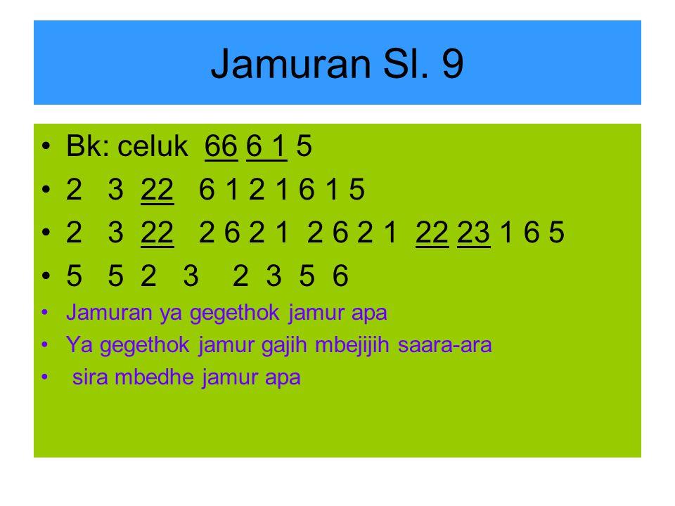 Jamuran Sl. 9 Bk: celuk 66 6 1 5. 2 3 22 6 1 2 1 6 1 5. 2 3 22 2 6 2 1 2 6 2 1 22 23 1 6 5.