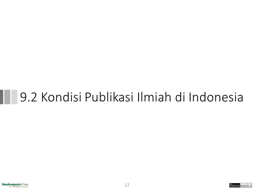 9.2 Kondisi Publikasi Ilmiah di Indonesia