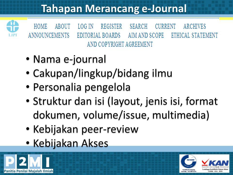 Tahapan Merancang e-Journal