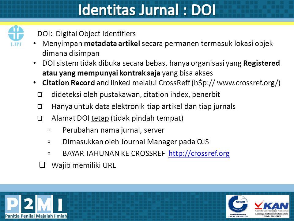 Identitas Jurnal : DOI DOI: Digital Object Identifiers