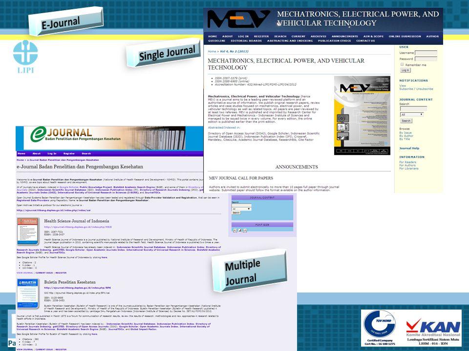 E-Journal Single Journal Multiple Journal