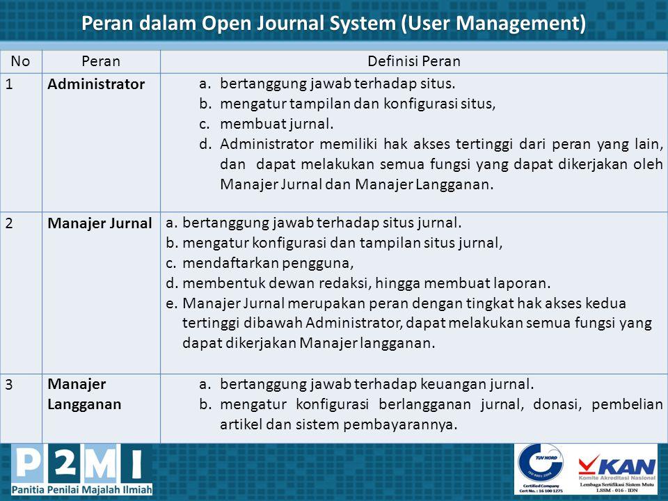 Peran dalam Open Journal System (User Management)