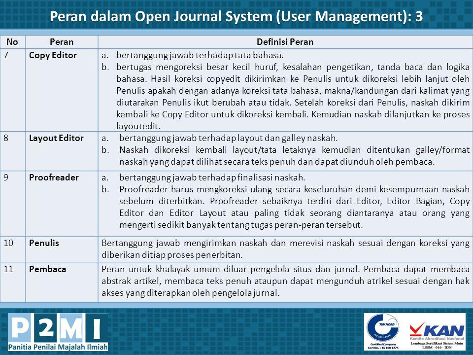 Peran dalam Open Journal System (User Management): 3