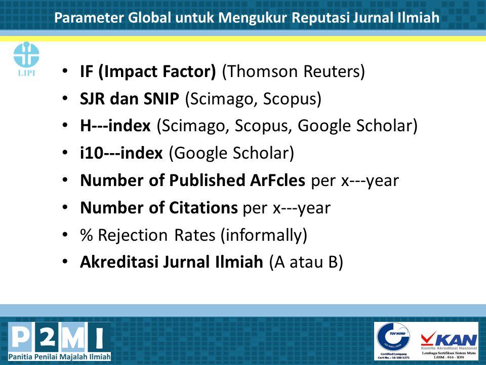 Parameter Global untuk Mengukur Reputasi Jurnal Ilmiah