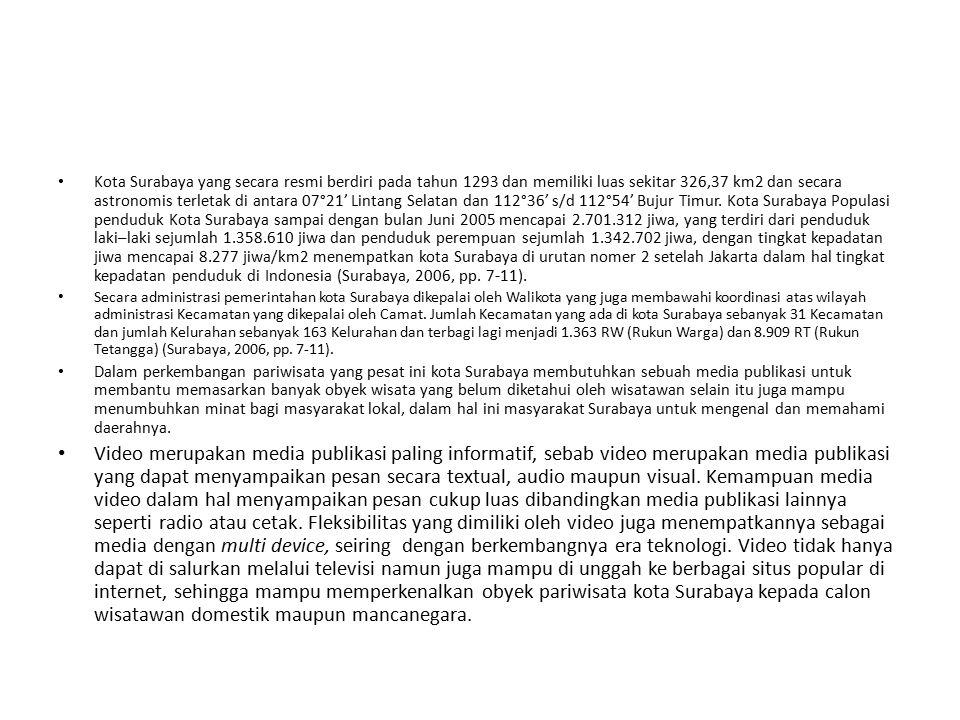 Kota Surabaya yang secara resmi berdiri pada tahun 1293 dan memiliki luas sekitar 326,37 km2 dan secara astronomis terletak di antara 07°21' Lintang Selatan dan 112°36' s/d 112°54' Bujur Timur. Kota Surabaya Populasi penduduk Kota Surabaya sampai dengan bulan Juni 2005 mencapai 2.701.312 jiwa, yang terdiri dari penduduk laki–laki sejumlah 1.358.610 jiwa dan penduduk perempuan sejumlah 1.342.702 jiwa, dengan tingkat kepadatan jiwa mencapai 8.277 jiwa/km2 menempatkan kota Surabaya di urutan nomer 2 setelah Jakarta dalam hal tingkat kepadatan penduduk di Indonesia (Surabaya, 2006, pp. 7-11).