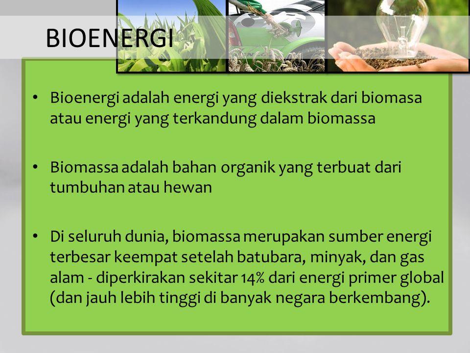 BIOENERGI Bioenergi adalah energi yang diekstrak dari biomasa atau energi yang terkandung dalam biomassa.