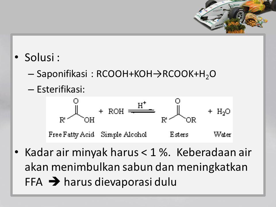 Solusi : Saponifikasi : RCOOH+KOH→RCOOK+H2O. Esterifikasi: