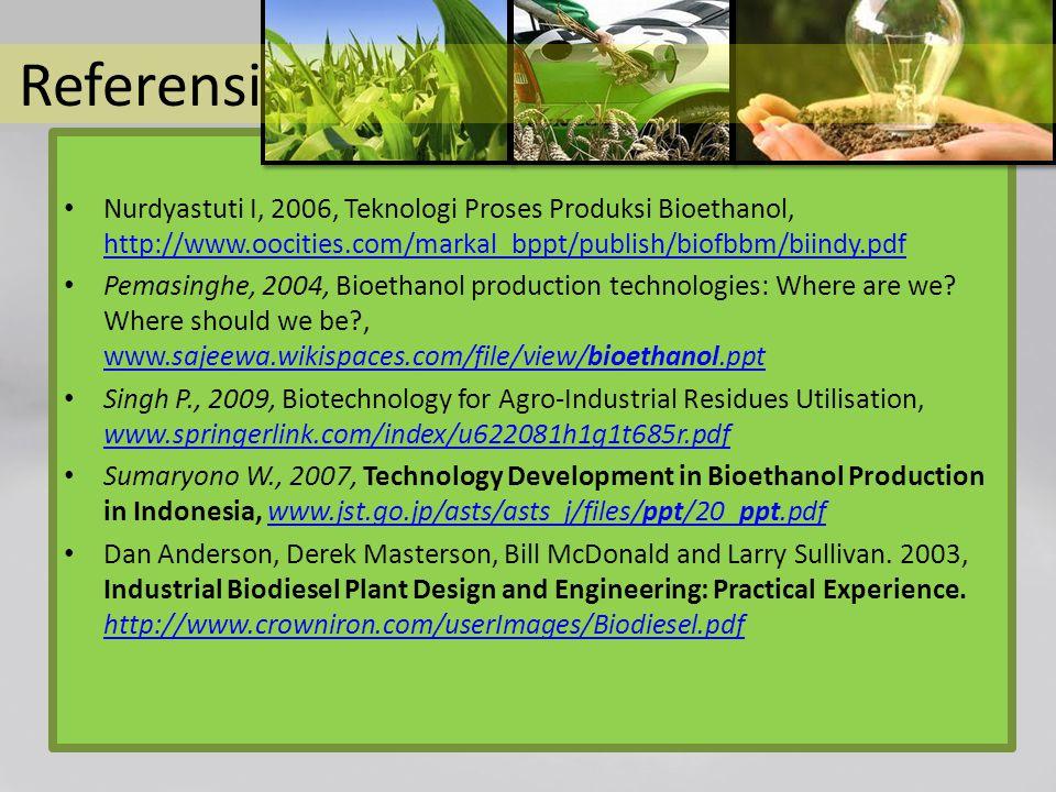 Referensi Nurdyastuti I, 2006, Teknologi Proses Produksi Bioethanol, http://www.oocities.com/markal_bppt/publish/biofbbm/biindy.pdf.