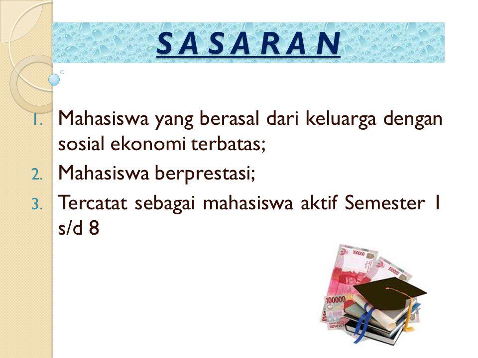 S A S A R A N Mahasiswa yang berasal dari keluarga dengan sosial ekonomi terbatas; Mahasiswa berprestasi;