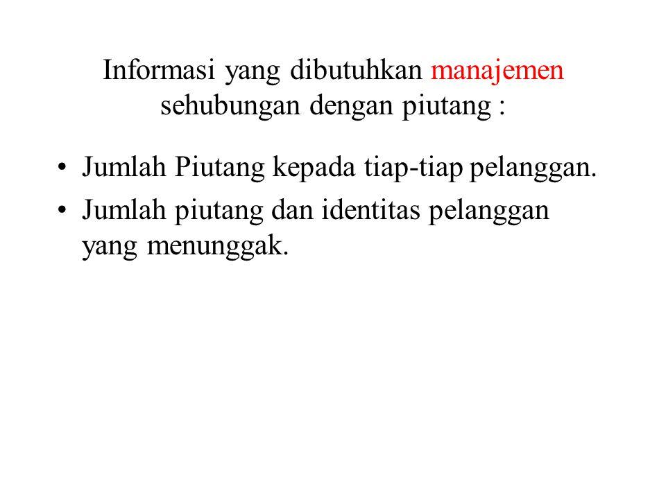 Informasi yang dibutuhkan manajemen sehubungan dengan piutang :
