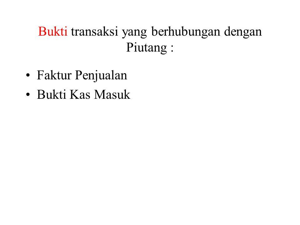 Bukti transaksi yang berhubungan dengan Piutang :